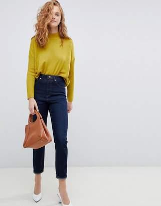 Asos DESIGN Recycled Farleigh high waist slim mom jeans in one year aged stonewash