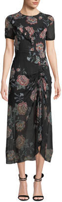 Pinko Ruched Floral-Print Ruffle Midi Dress