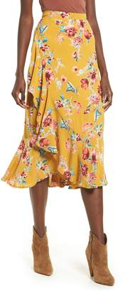 Band of Gypsies Ruffle Trim Midi Skirt
