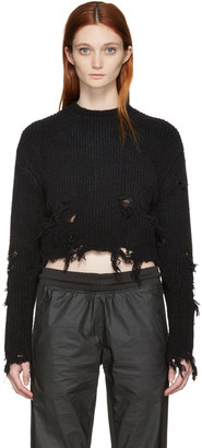 YEEZY Black Destroyed Cropped Bouclé Sweater $750 thestylecure.com