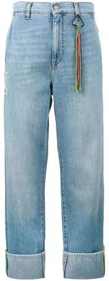 Mira Mikati Turn-up wide-leg denim jeans