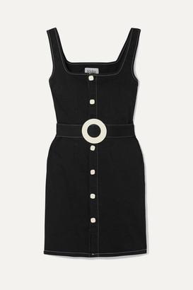 Solid & Striped Belted Cotton-blend Twill Mini Dress - Black