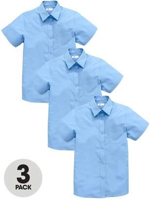 Very Schoolwear Girls Short Sleeve School Blouses - Blue (3 Pack)