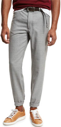 Brunello Cucinelli Rustic Five-Pocket Wool Pants, Light Gray