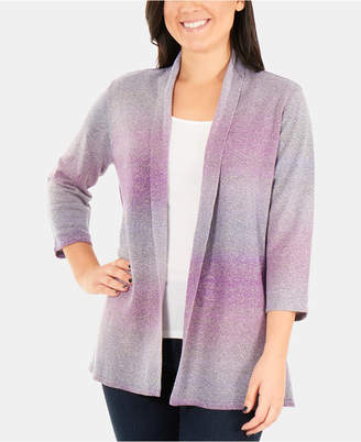 NY Collection Petite Ombre Open-Front Cardigan