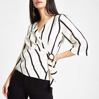 River Island Womens White stripe wrap front horn ring blouse