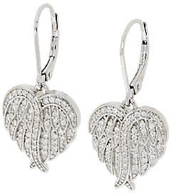 Diamonique Angel Wing Lever Back Earrings,Sterling