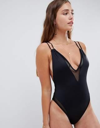 Asos Design DESIGN recycled Fishnet Insert Plunge Front High Leg Swimsuit