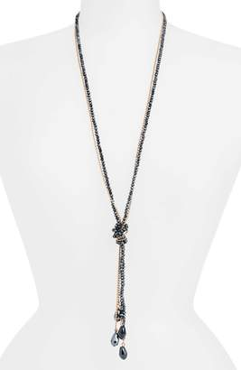 Stella + Ruby Tie Beaded Lariat Necklace