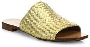 ee46bcbb522ab1 Michael Kors Women s Byrne Woven Metallic Leather Slides - Gold - Size 5  Sandals