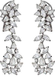 ZYDO Unique 18k White Gold Diamond Cluster Drop Earrings