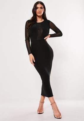 Missguided Black Low Back Mesh Bodycon Midi Dress