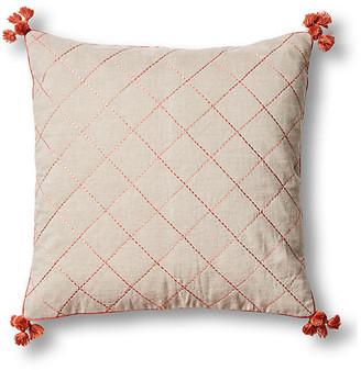 Joanna Buchanan Tassel Quilted 20x20 Pillow - Terracotta Linen