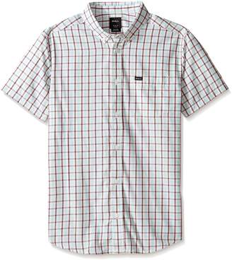 RVCA Men's Thatll Do Plaid 2 Short Sleeve Woven Shirt, Antique/White