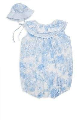 Luli and Me Baby's Two-Piece Floral Bodysuit& Sun Hat Set