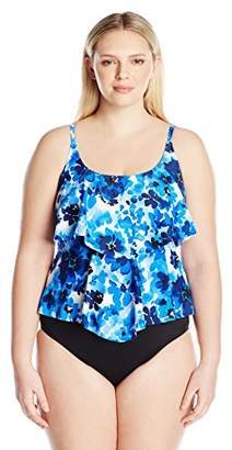 Maxine Of Hollywood Women's Plus Size 2-Tiered Ruffle Tankini Swimsuit Top