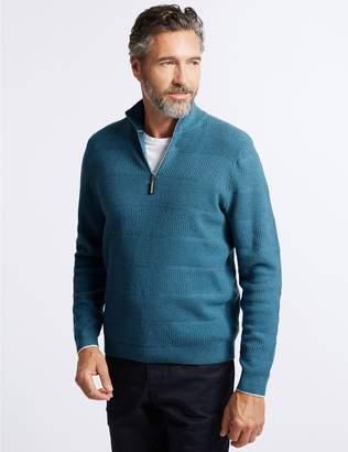 Marks and Spencer Cotton Rich Textured Half Zip Jumper