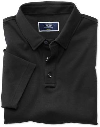 Charles Tyrwhitt Black Jersey Cotton Polo Shirt Size XL