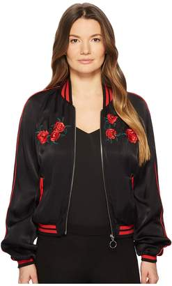 The Kooples Satin Viscose Blouse Jacket with Embroidery Women's Coat