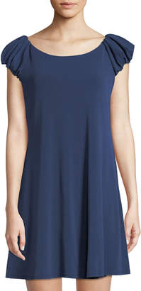 Cynthia Steffe Cece By Puffed-Sleeve Crepe A-line Dress