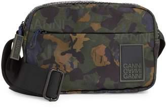 Ganni Camo-Print Nylon Messenger Bag