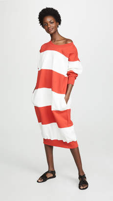 Sonia Rykiel Striped Off Shoulder Sweatshirt Dress
