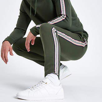 River Island Khaki green side tape slim fit joggers