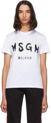 MSGM White Paint Brushed Logo T-Shirt