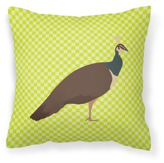 Caroline's Treasures Indian Peahen Peafowl Green Fabric Decorative Pillow