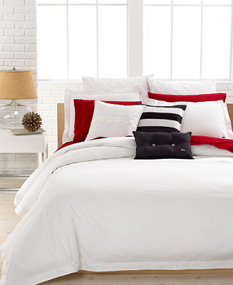 Lacoste CLOSEOUT! Solid White Brushed Twill Full/Queen Duvet Cover Set