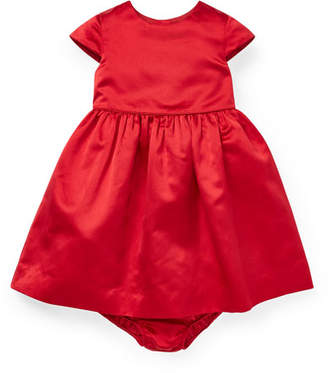 Ralph Lauren Short-Sleeve Satin Dress w/ Bloomers, Size 6-24 Months