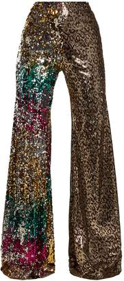 HALPERN Sequin-embellished high-rise kick-flare trousers