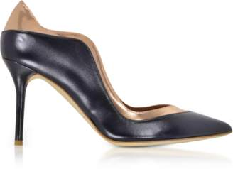 Malone Souliers By Roy Luwolt Penelope Midnight Blue and Metallic Rose Nappa Leather Pumps