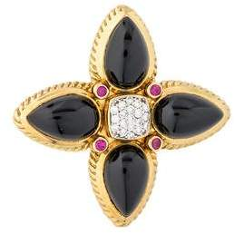 David Yurman 18K Onyx, Diamond & Ruby Pendant