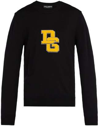 Dolce & Gabbana Logo-appliqué crew-neck wool sweater