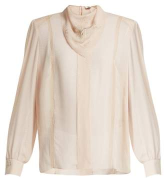 Fendi Logo Embroidered Voile Blouse - Womens - Beige