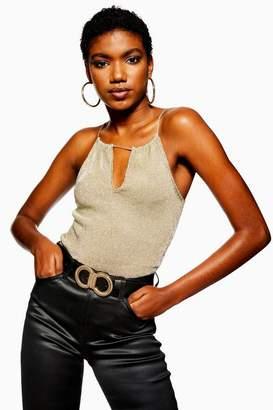 Topshop Womens Metallic Plunge Cami Top