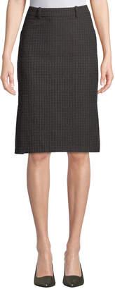 Leon Max Houndstooth Jacquard Slim Skirt