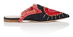 Alberta Ferretti Women's Heart-Embroidered Denim Mules-Black