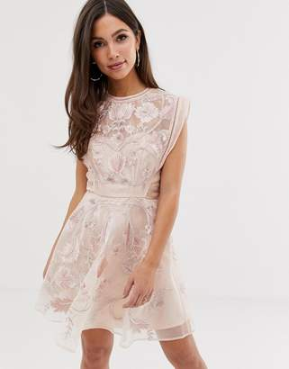 Asos Design DESIGN organza embroidered floral mini dress