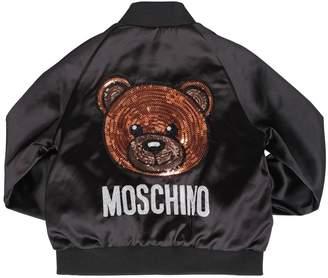 Moschino Sequined Bear Nylon Satin Bomber Jacket