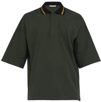 Bottega Veneta Contrast Collar Cotton Pique Polo Shirt - Mens - Green