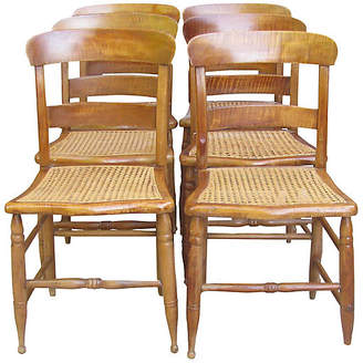One Kings Lane Vintage C.1840 Federal Maple & Cane Chairs - Set of 6 - Chez Vous