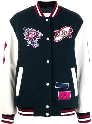 Kenzo patch detailed bomber jacket