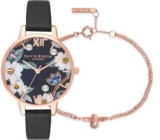 Olivia Burton Bejewelled Leather Strap Watch and Bracelet Set, 35mm