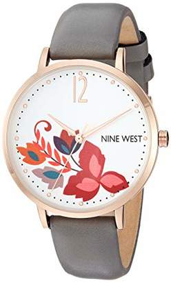 Nine West Women's NW/2208RGGY Rose Gold-Tone and Grey Strap Watch