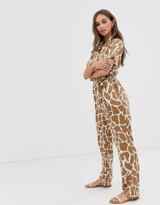 Pieces abstract animal print jumpsuit