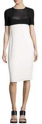 Narciso Rodriguez Two-Tone Short-Sleeve Sheath Dress, Black/White