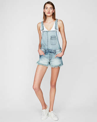 Express Original Distressed Denim Overall Shorts