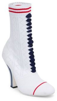 Fendi Knit Lace-Up Booties